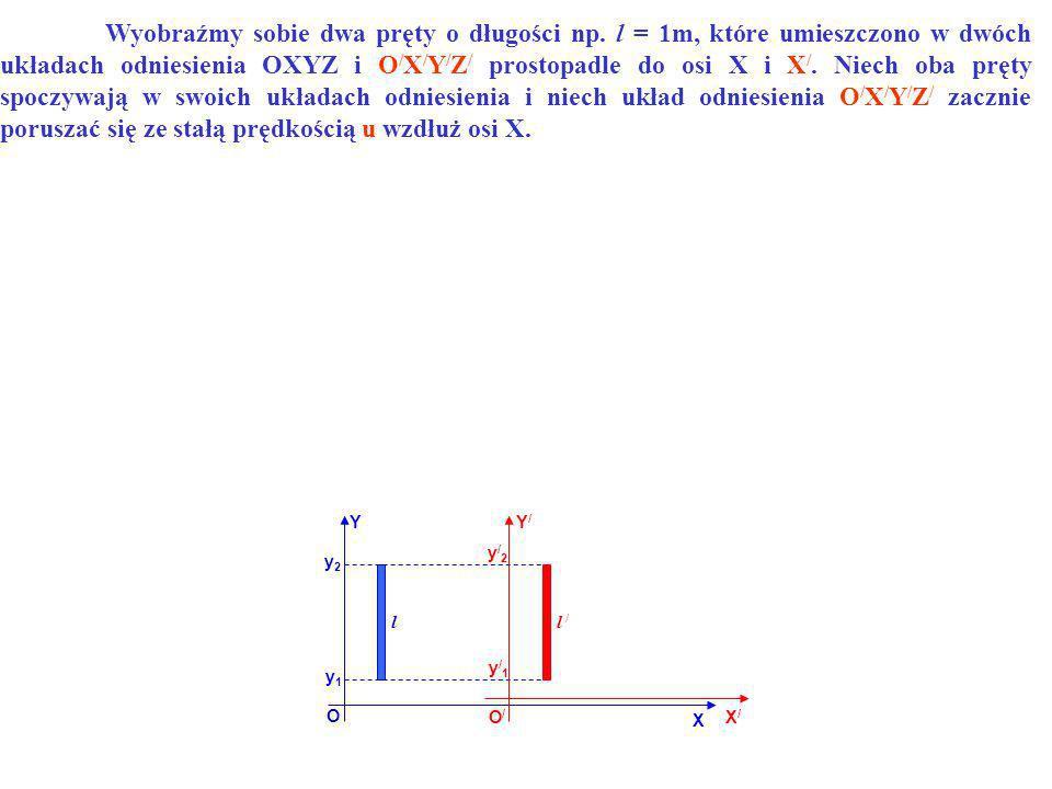 YY/Y/ O O/O/ X X/X/ l l / y1y1 y2y2 y/2y/2 y/1y/1 Wyobraźmy sobie dwa pręty o długości np. l = 1m, które umieszczono w dwóch układach odniesienia OXYZ