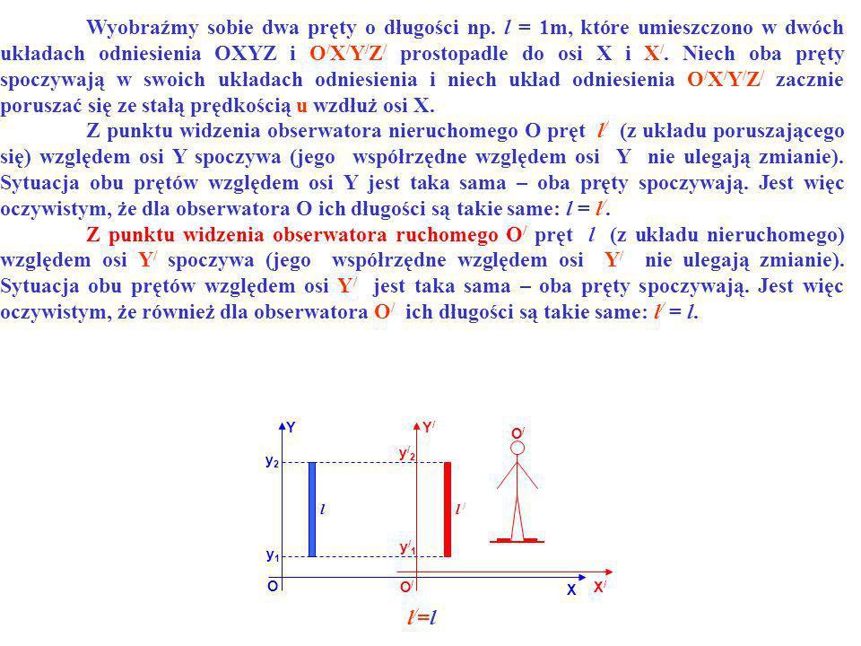 l/=ll/=l YY/Y/ O O/O/ X X/X/ l l / y1y1 y2y2 y/2y/2 y/1y/1 O/O/ Wyobraźmy sobie dwa pręty o długości np. l = 1m, które umieszczono w dwóch układach od
