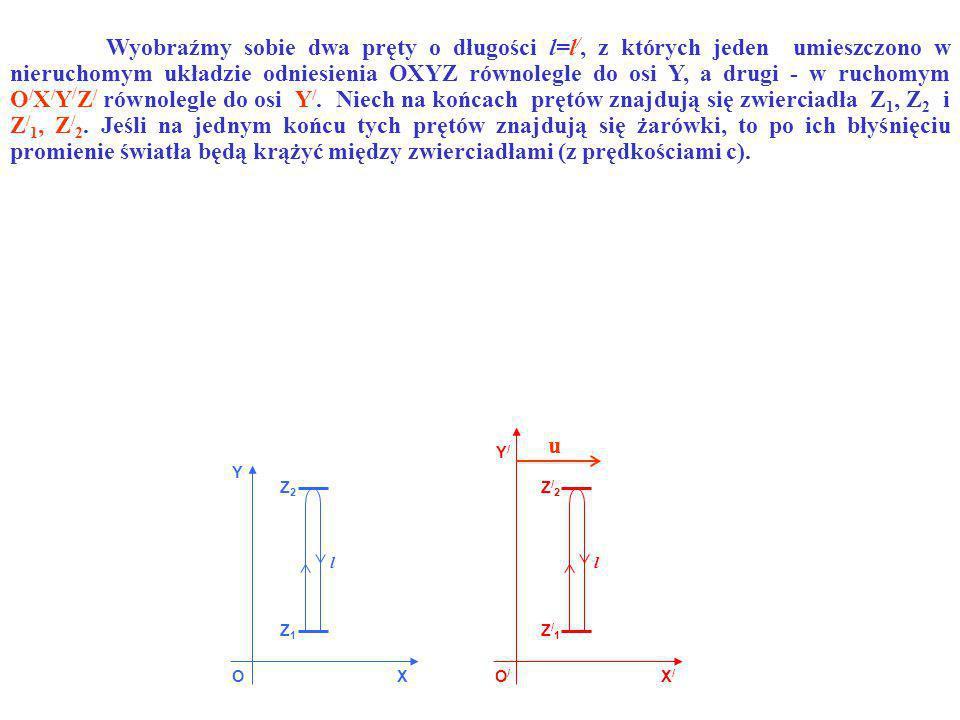 OO/O/ X Y X/X/ Y/Y/ Z1Z1 Z2Z2 Z/1Z/1 Z/2Z/2 ll u Wyobraźmy sobie dwa pręty o długości l=l /, z których jeden umieszczono w nieruchomym układzie odnies