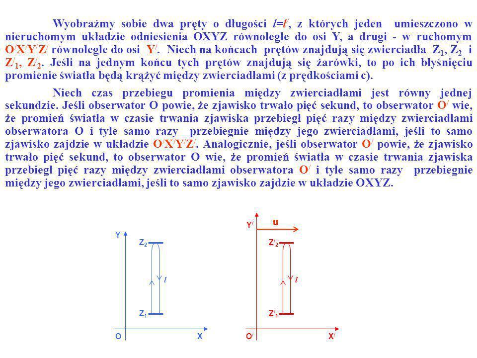 OO/O/ X Y X/X/ Y/Y/ Z1Z1 Z2Z2 Z/1Z/1 Z/2Z/2 ll u Niech czas przebiegu promienia między zwierciadłami jest równy jednej sekundzie. Jeśli obserwator O p