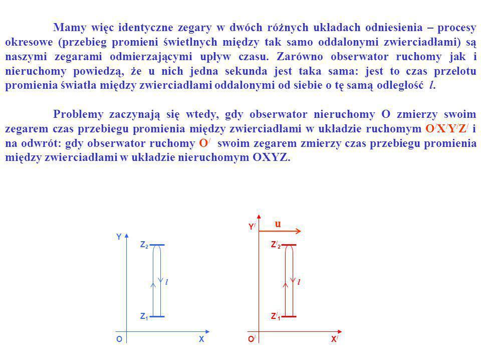 OO/O/ X Y X/X/ Y/Y/ Z1Z1 Z2Z2 Z/1Z/1 Z/2Z/2 ll u Problemy zaczynają się wtedy, gdy obserwator nieruchomy O zmierzy swoim zegarem czas przebiegu promie