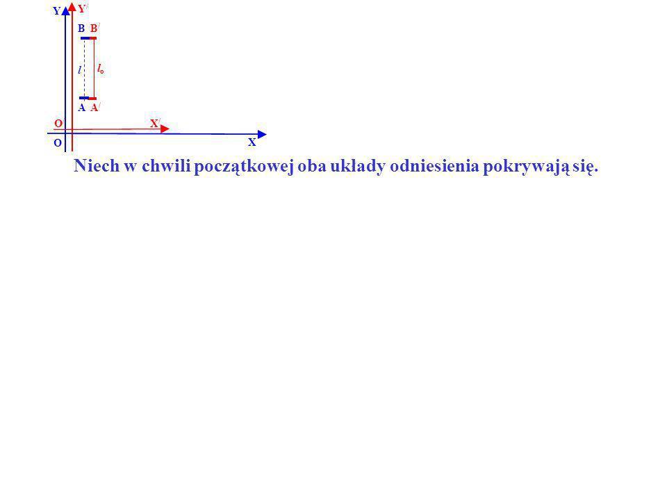 B B/B/ A/A/ A Y X Y/Y/ X/X/ O O/O/ lolo l Niech w chwili początkowej oba układy odniesienia pokrywają się.