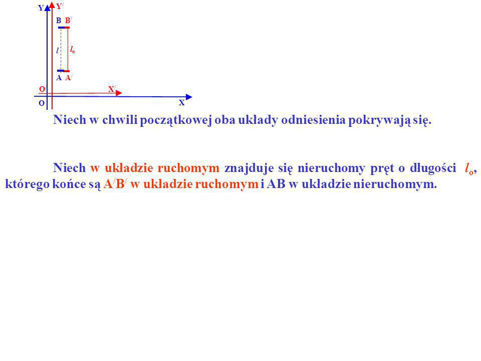 B B/B/ A/A/ A Y X Y/Y/ X/X/ O O/O/ lolo l Niech w układzie ruchomym znajduje się nieruchomy pręt o długości l o, którego końce są A / B / w układzie r