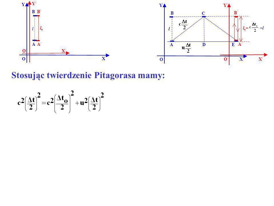 B B/B/ A/A/ A Y X Y/Y/ X/X/ O O/O/ lolo l B B / EA Y X O l D C A/A/ X/X/ Y/Y/ O/O/ Stosując twierdzenie Pitagorasa mamy: