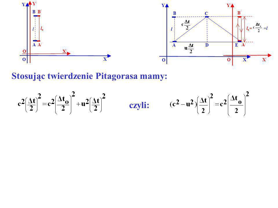 B B/B/ A/A/ A Y X Y/Y/ X/X/ O O/O/ lolo l B B / EA Y X O l D C l o = =l czyli: A/A/ X/X/ Y/Y/ O/O/ Stosując twierdzenie Pitagorasa mamy: