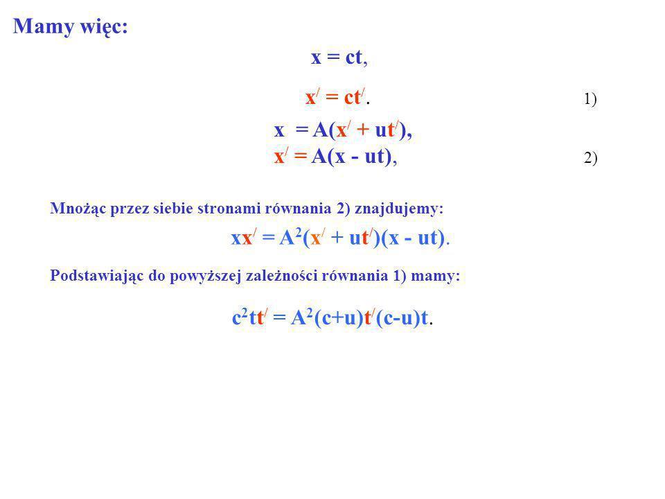x = ct, x / = ct /. 1) x = A(x / + ut / ), x / = A(x - ut), 2) Mamy więc: Mnożąc przez siebie stronami równania 2) znajdujemy: xx / = A 2 (x / + ut /