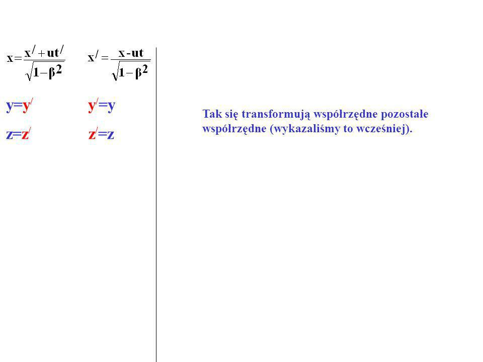 y=y / y / =y z=z / z / =z Tak się transformują współrzędne pozostałe współrzędne (wykazaliśmy to wcześniej).