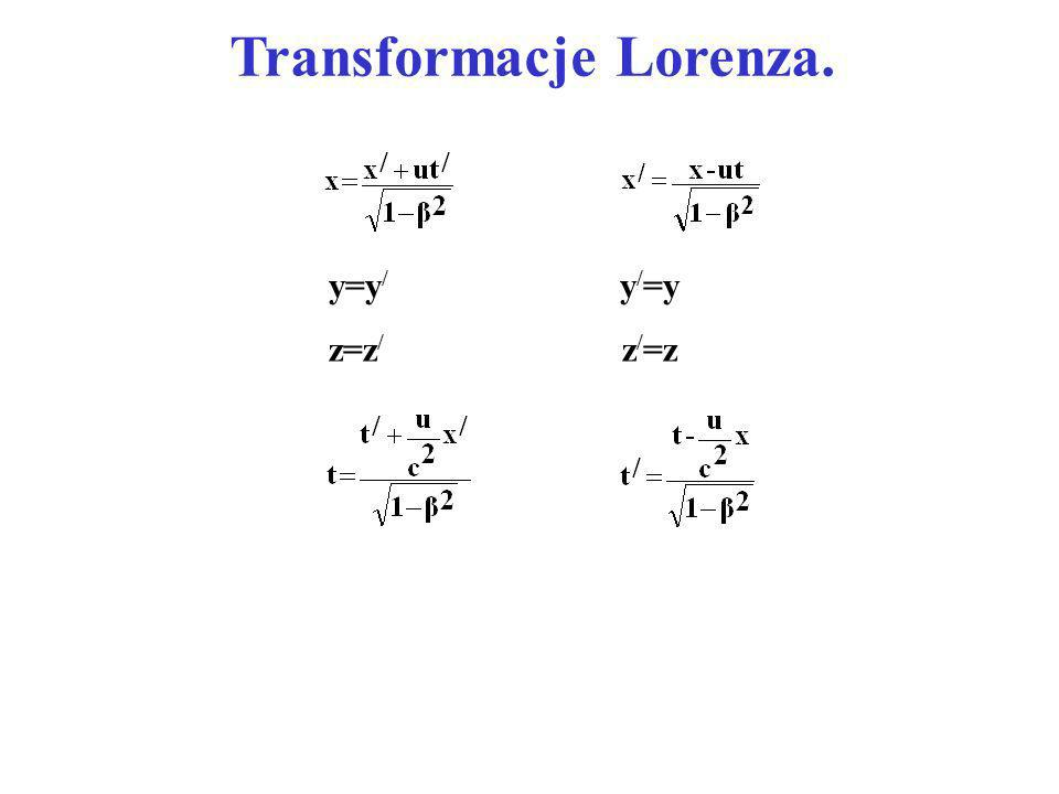 Transformacje Lorenza. y=y / y / =y z=z / z / =z