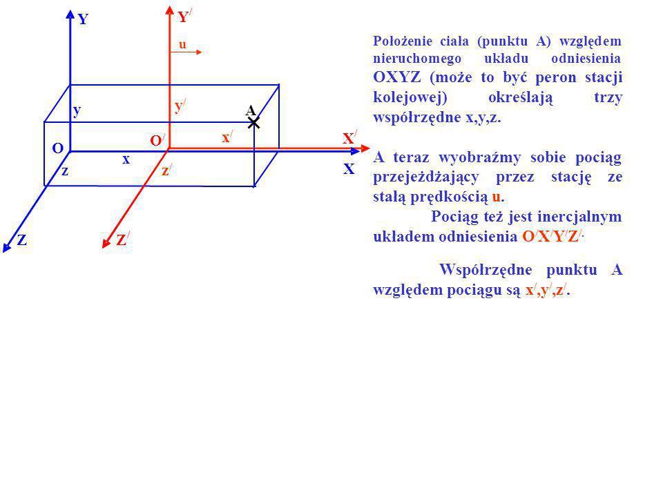 Y / X / Z / Y X Z O O/O/ x A y z u Położenie ciała (punktu A) względem nieruchomego układu odniesienia OXYZ (może to być peron stacji kolejowej) okreś