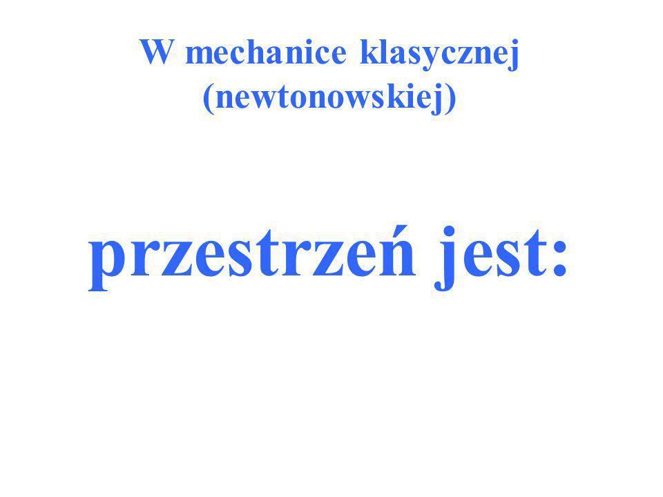 W mechanice klasycznej (newtonowskiej) przestrzeń jest: