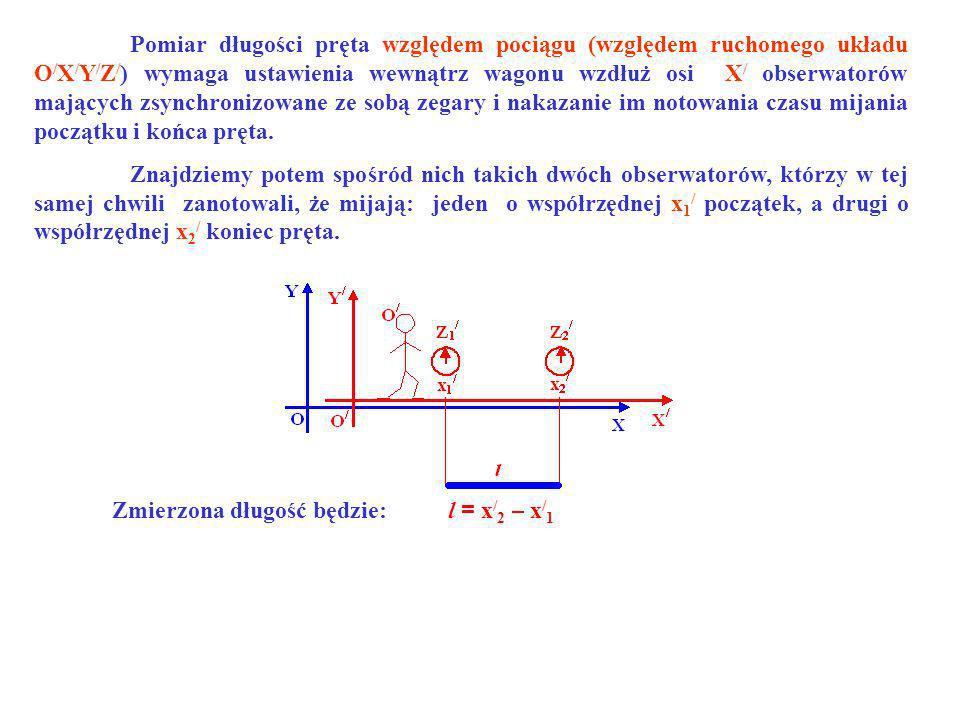 Pomiar długości pręta względem pociągu (względem ruchomego układu O / X / Y / Z / ) wymaga ustawienia wewnątrz wagonu wzdłuż osi X / obserwatorów mają