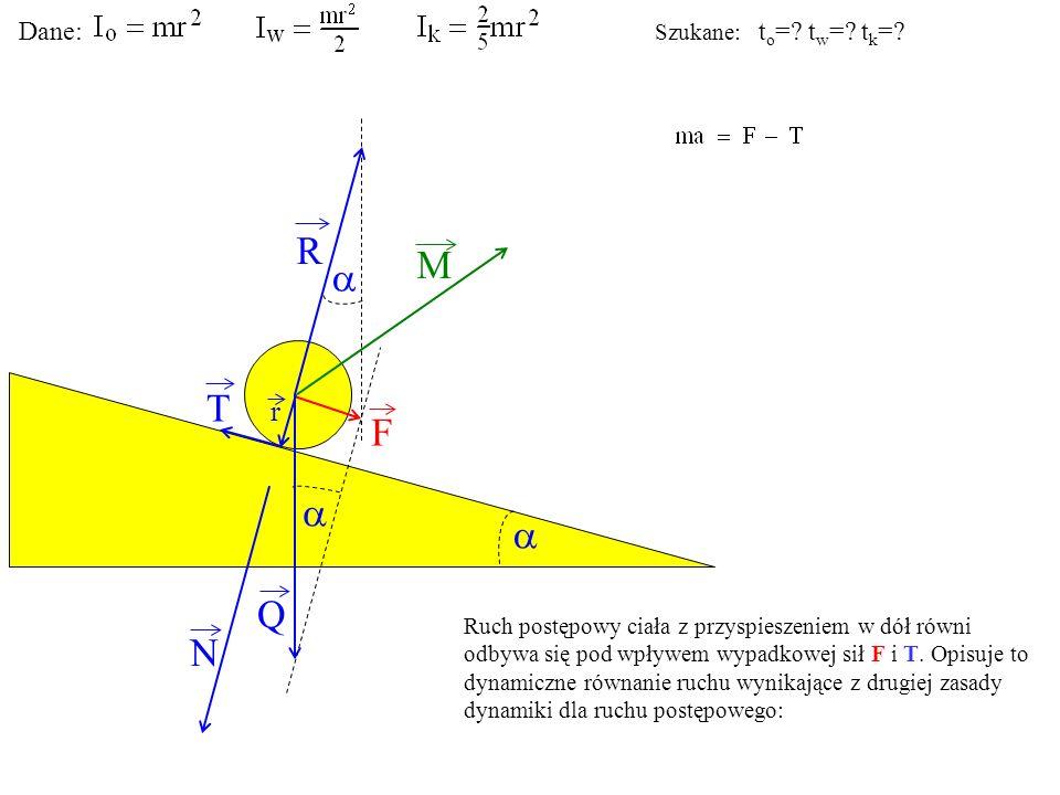 T Q N F R M r Ruch postępowy ciała z przyspieszeniem w dół równi odbywa się pod wpływem wypadkowej sił F i T. Opisuje to dynamiczne równanie ruchu wyn