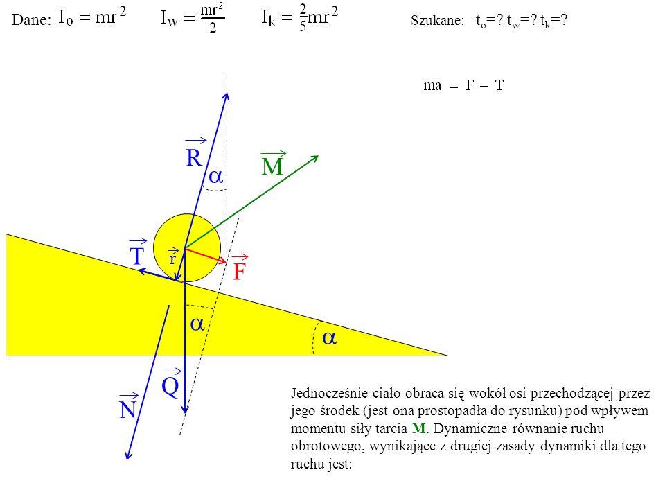 T Q N F R M r Jednocześnie ciało obraca się wokół osi przechodzącej przez jego środek (jest ona prostopadła do rysunku) pod wpływem momentu siły tarci