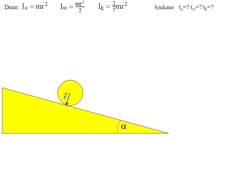 Q r Ciało podlega działaniu ciężaru Q (pionowo w dół). Dane: Szukane: t o =? t w =? t k =?