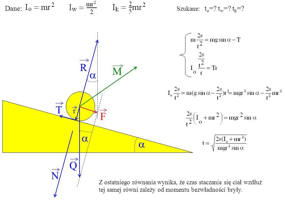 T Q N F R M r Dane: Szukane: t o =? t w =? t k =? Z ostatniego równania wynika, że czas staczania się ciał wzdłuż tej samej równi zależy od momentu be