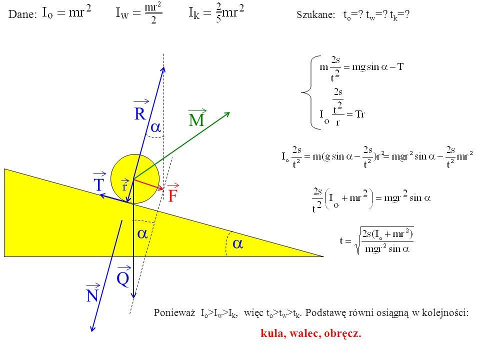 T Q N F R M r Dane: Szukane: t o =? t w =? t k =? Ponieważ I o >I w >I k, więc t o >t w >t k. Podstawę równi osiągną w kolejności: kula, walec, obręcz