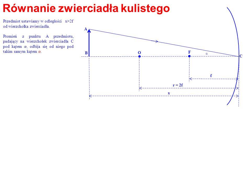 Równanie zwierciadła kulistego. O F. A B f r = 2f x C Przedmiot ustawiamy w odległości x>2f od wierzchołka zwierciadła. Promień z punktu A przedmiotu,