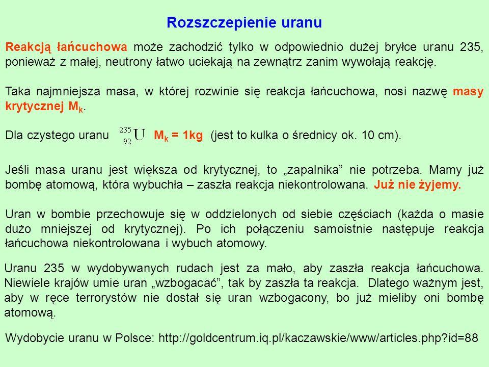 Rozszczepienie uranu Reakcją łańcuchowa może zachodzić tylko w odpowiednio dużej bryłce uranu 235, ponieważ z małej, neutrony łatwo uciekają na zewnąt