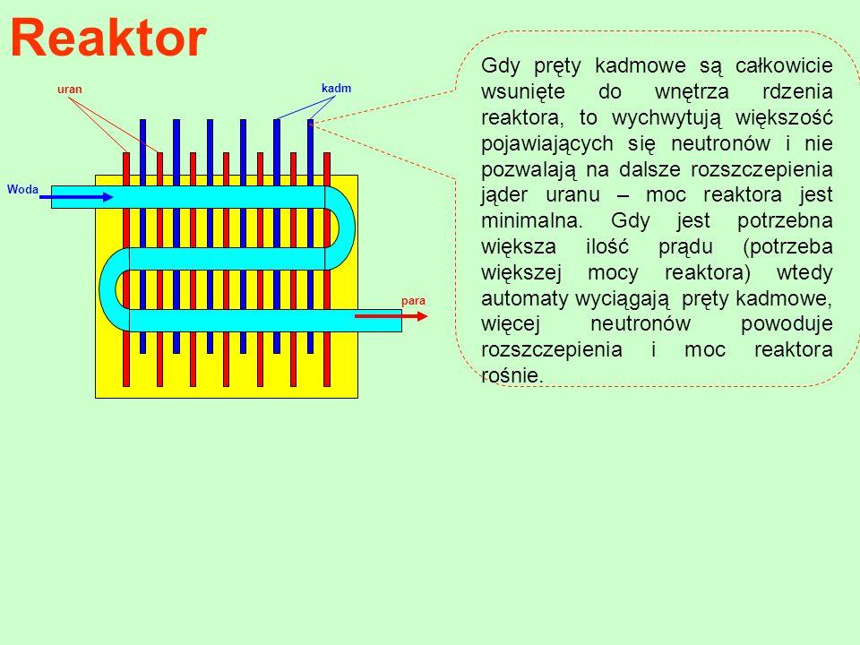Reaktor Woda kadm uran para Gdy pręty kadmowe są całkowicie wsunięte do wnętrza rdzenia reaktora, to wychwytują większość pojawiających się neutronów