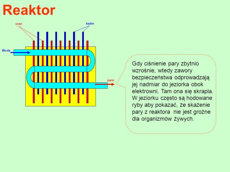 Reaktor Woda kadm uran para Gdy ciśnienie pary zbytnio wzrośnie, wtedy zawory bezpieczeństwa odprowadzają jej nadmiar do jeziorka obok elektrowni. Tam