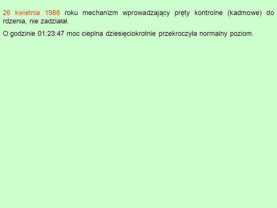 O godzinie 01:23:47 moc cieplna dziesięciokrotnie przekroczyła normalny poziom.