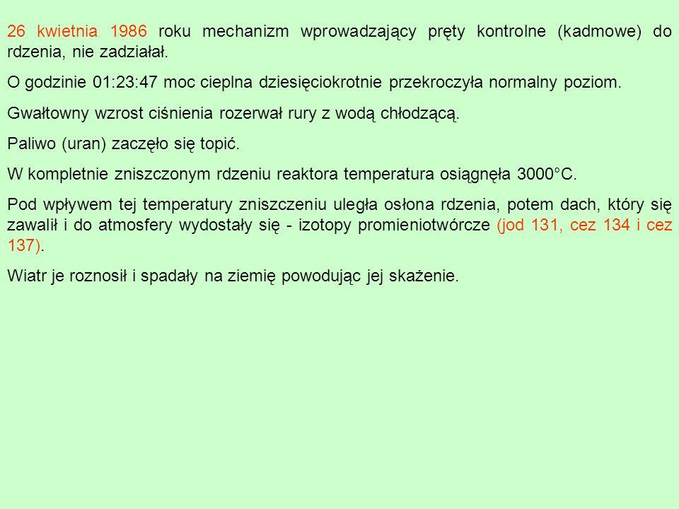 26 kwietnia 1986 roku mechanizm wprowadzający pręty kontrolne (kadmowe) do rdzenia, nie zadziałał. O godzinie 01:23:47 moc cieplna dziesięciokrotnie p
