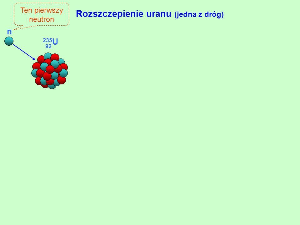 Rozszczepienie uranu (jedna z dróg) Ten pierwszy neutron n 235 U 92