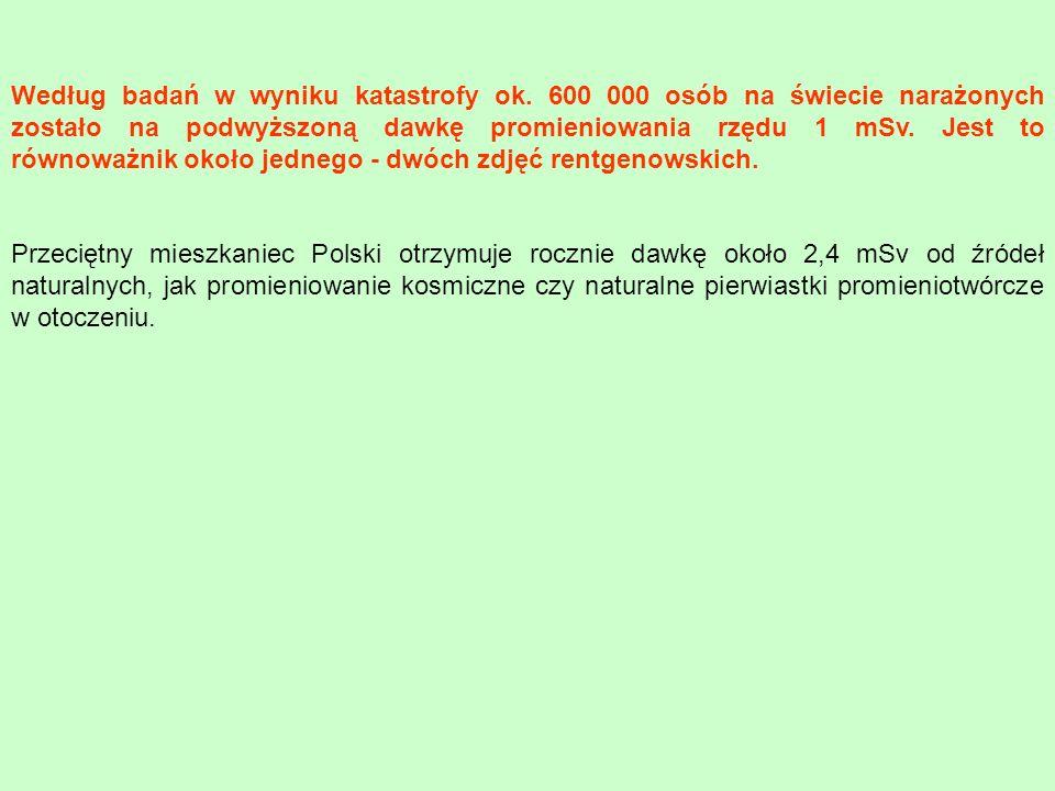 Przeciętny mieszkaniec Polski otrzymuje rocznie dawkę około 2,4 mSv od źródeł naturalnych, jak promieniowanie kosmiczne czy naturalne pierwiastki prom