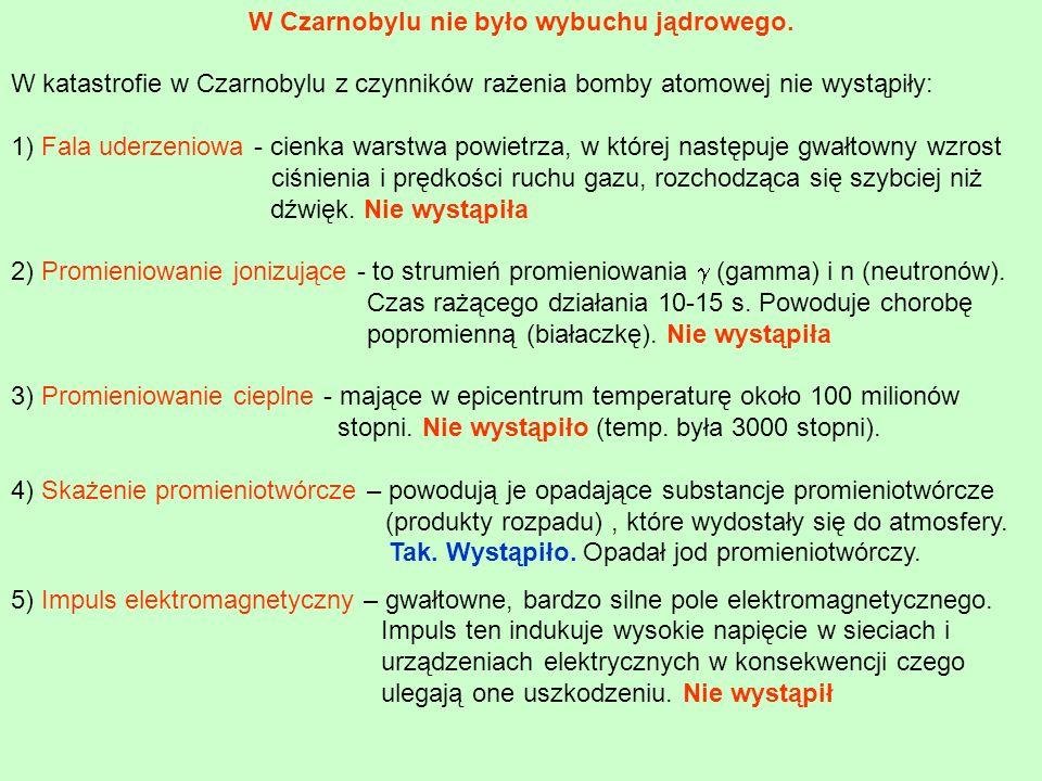 W Czarnobylu nie było wybuchu jądrowego. W katastrofie w Czarnobylu z czynników rażenia bomby atomowej nie wystąpiły: 1) Fala uderzeniowa - cienka war