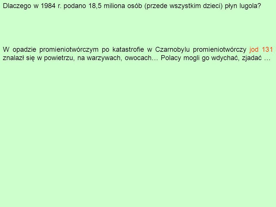 W opadzie promieniotwórczym po katastrofie w Czarnobylu promieniotwórczy jod 131 znalazł się w powietrzu, na warzywach, owocach… Polacy mogli go wdych