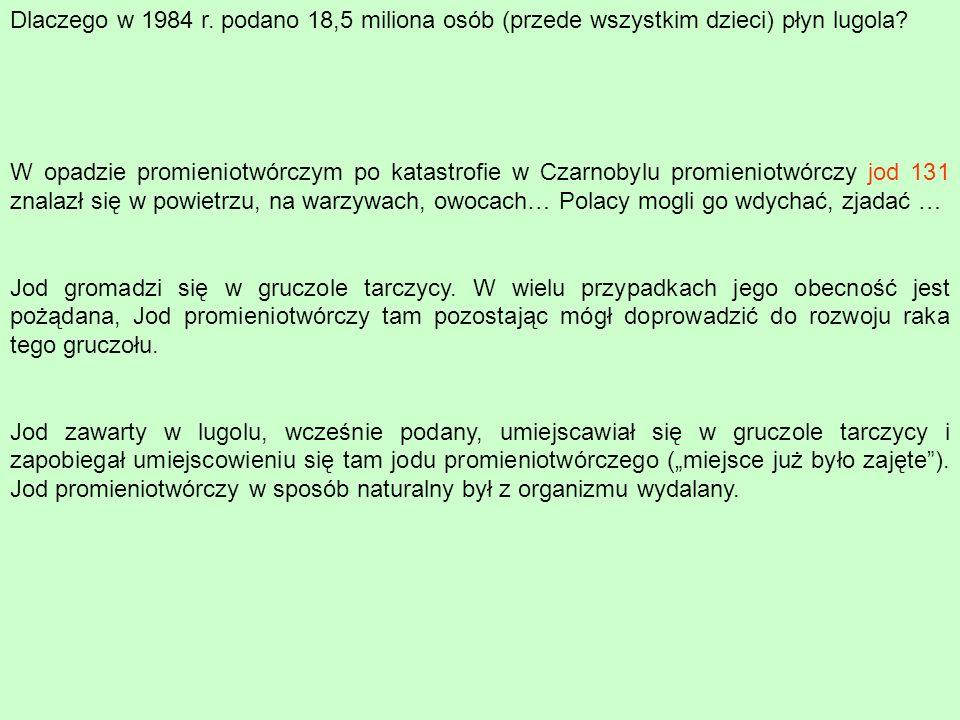 Dlaczego w 1984 r. podano 18,5 miliona osób (przede wszystkim dzieci) płyn lugola? W opadzie promieniotwórczym po katastrofie w Czarnobylu promieniotw
