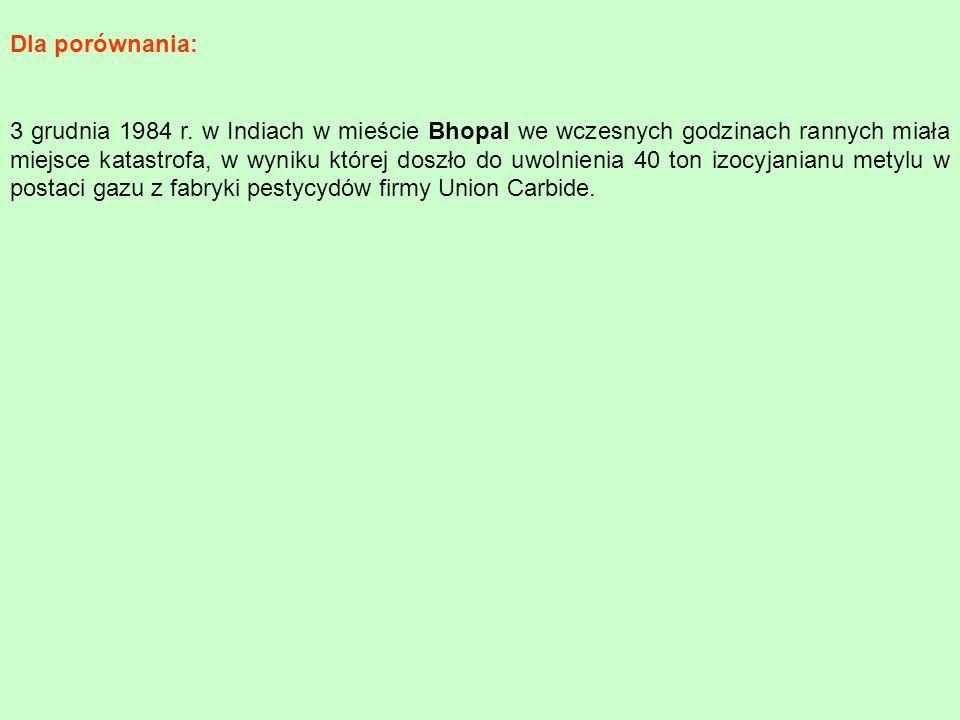 3 grudnia 1984 r. w Indiach w mieście Bhopal we wczesnych godzinach rannych miała miejsce katastrofa, w wyniku której doszło do uwolnienia 40 ton izoc