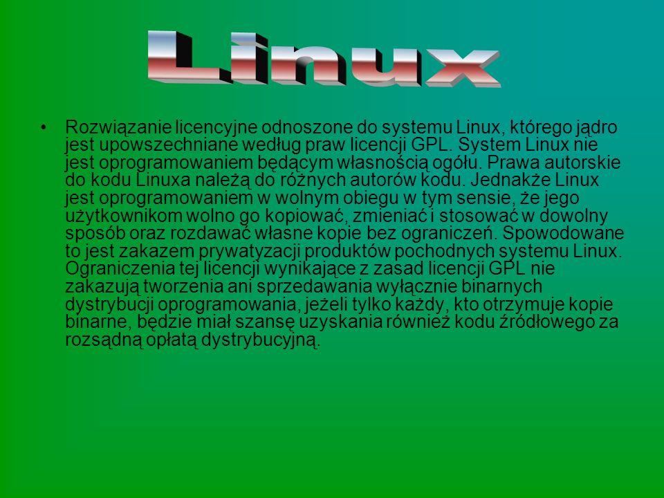 Rozwiązanie licencyjne odnoszone do systemu Linux, którego jądro jest upowszechniane według praw licencji GPL. System Linux nie jest oprogramowaniem b