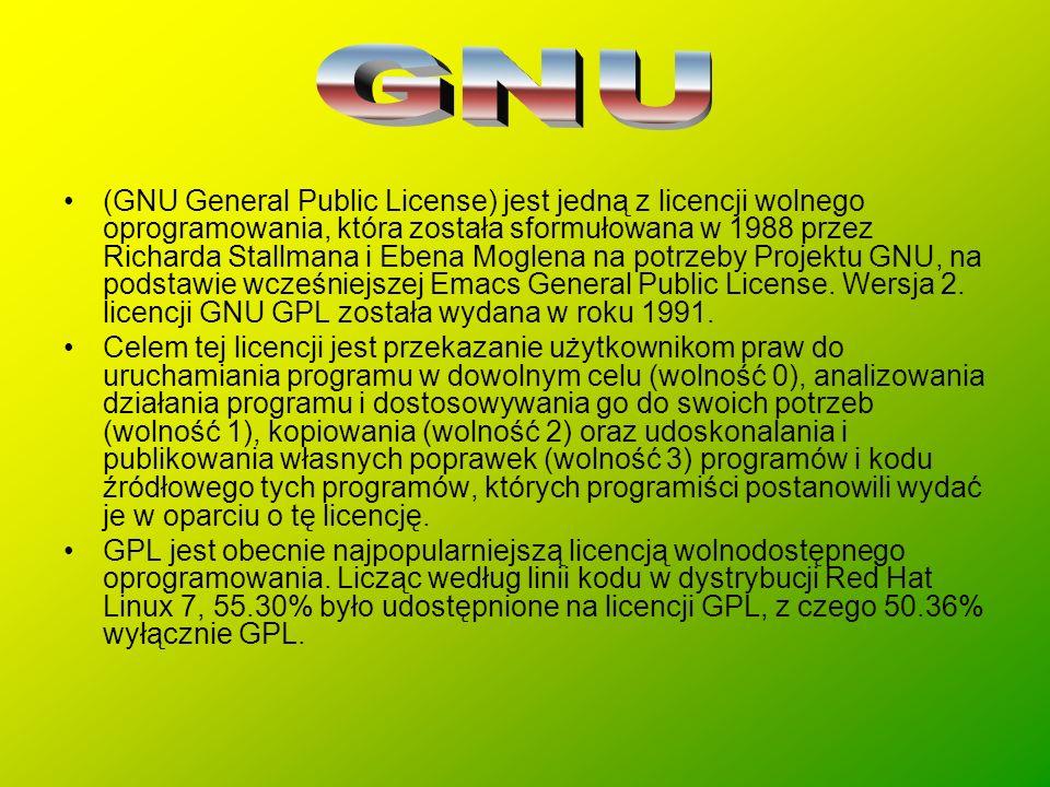 (GNU General Public License) jest jedną z licencji wolnego oprogramowania, która została sformułowana w 1988 przez Richarda Stallmana i Ebena Moglena