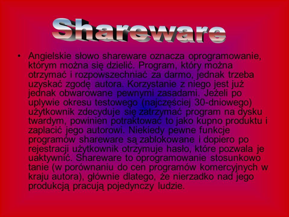 Angielskie słowo shareware oznacza oprogramowanie, którym można się dzielić. Program, który można otrzymać i rozpowszechniać za darmo, jednak trzeba u