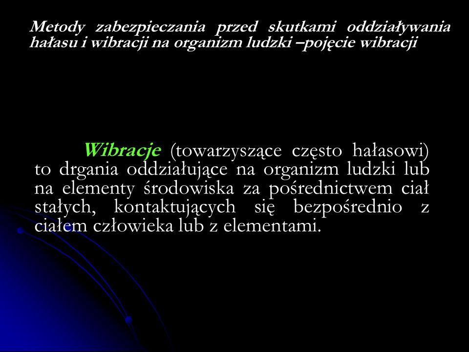 Metody zabezpieczania przed skutkami oddziaływania hałasu i wibracji na organizm ludzki –pojęcie wibracji Wibracje (towarzyszące często hałasowi) to d