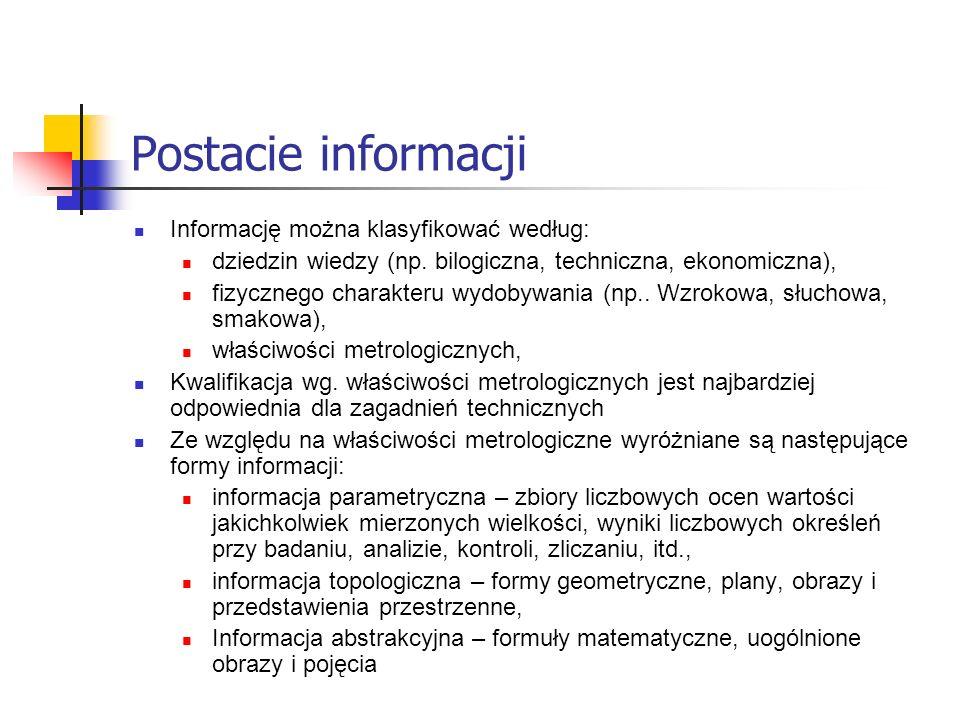 Postacie informacji Informację można klasyfikować według: dziedzin wiedzy (np. bilogiczna, techniczna, ekonomiczna), fizycznego charakteru wydobywania