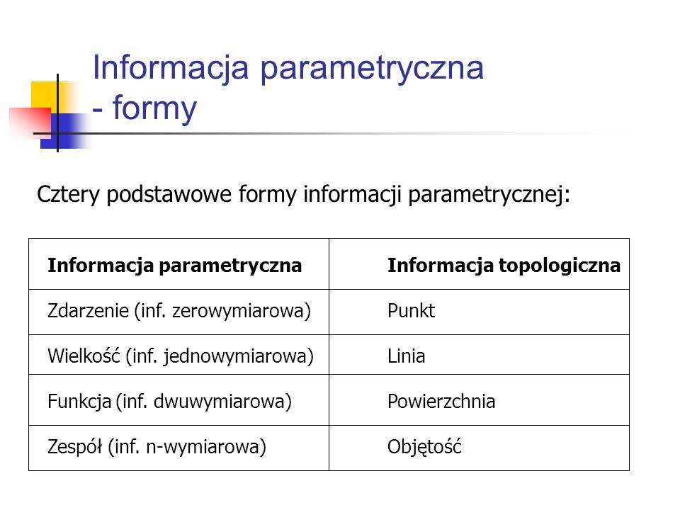 Informacja parametryczna - formy Informacja parametrycznaInformacja topologiczna Zdarzenie (inf. zerowymiarowa)Punkt Wielkość (inf. jednowymiarowa)Lin