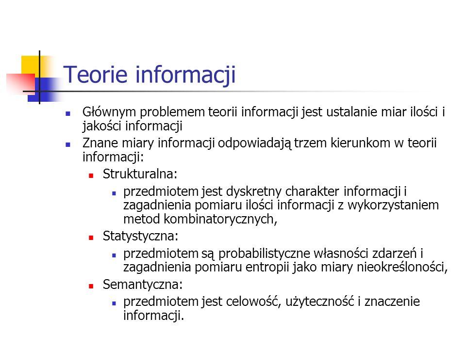 Teorie informacji Głównym problemem teorii informacji jest ustalanie miar ilości i jakości informacji Znane miary informacji odpowiadają trzem kierunk
