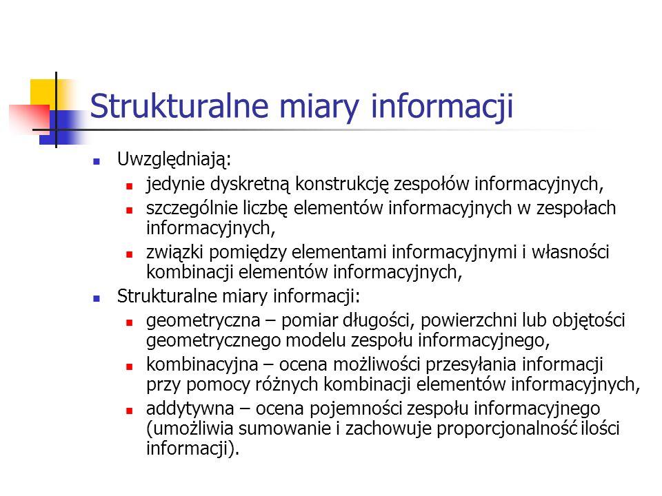 Strukturalne miary informacji Uwzględniają: jedynie dyskretną konstrukcję zespołów informacyjnych, szczególnie liczbę elementów informacyjnych w zespo