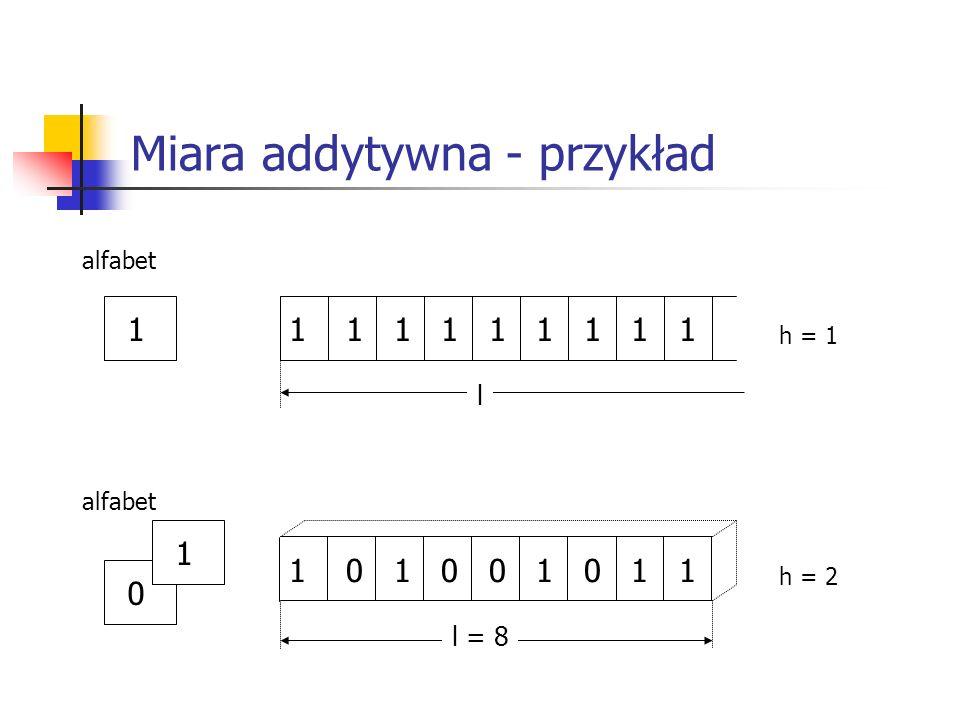 Miara addytywna - przykład 11 1 1 1 1 1 1 1 1 alfabet l h = 1 0 1 0 1 0 0 1 0 1 1 alfabet l = 8 h = 2 1