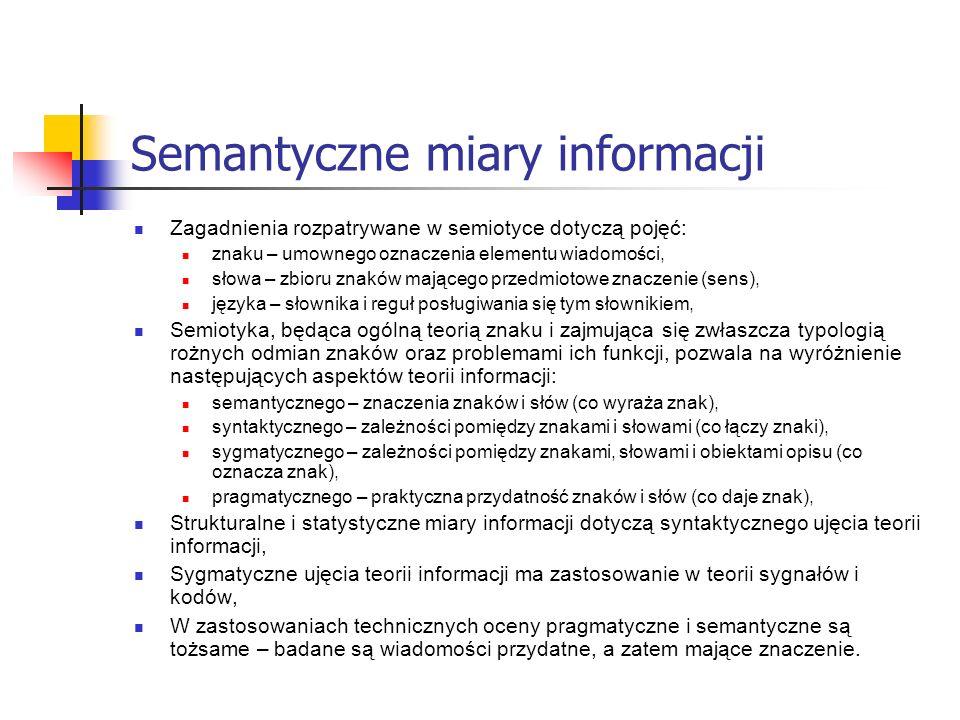 Semantyczne miary informacji Zagadnienia rozpatrywane w semiotyce dotyczą pojęć: znaku – umownego oznaczenia elementu wiadomości, słowa – zbioru znakó
