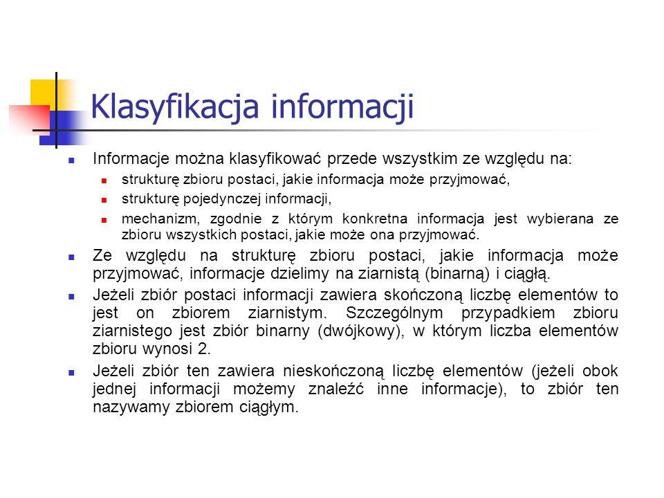 Klasyfikacja informacji Informacje można klasyfikować przede wszystkim ze względu na: strukturę zbioru postaci, jakie informacja może przyjmować, stru