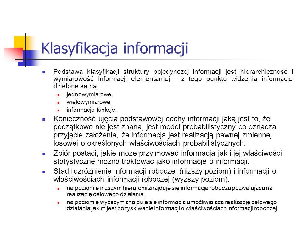 Klasyfikacja informacji Podstawą klasyfikacji struktury pojedynczej informacji jest hierarchiczność i wymiarowość informacji elementarnej - z tego pun