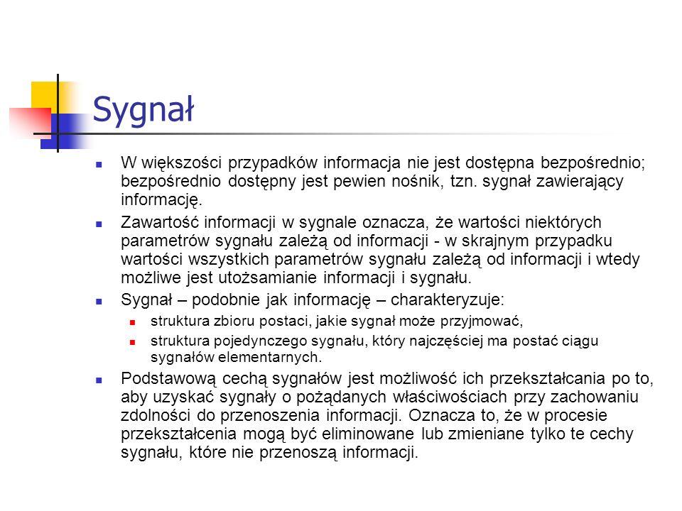 Sygnał W większości przypadków informacja nie jest dostępna bezpośrednio; bezpośrednio dostępny jest pewien nośnik, tzn. sygnał zawierający informację