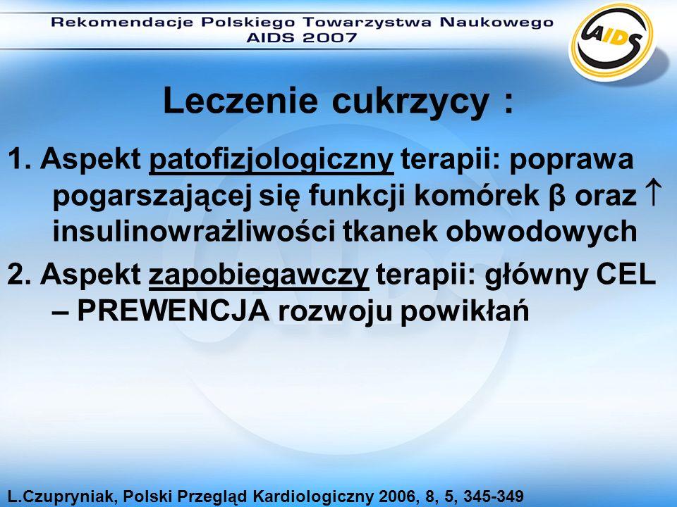 Leczenie cukrzycy : 1. Aspekt patofizjologiczny terapii: poprawa pogarszającej się funkcji komórek β oraz insulinowrażliwości tkanek obwodowych 2. Asp