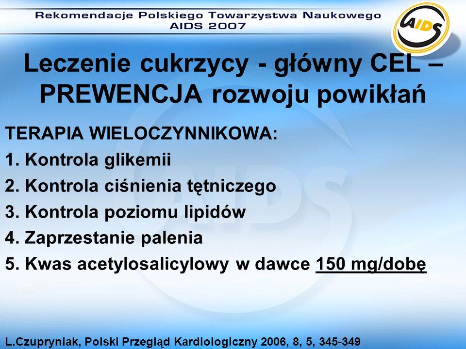 Leczenie cukrzycy - główny CEL – PREWENCJA rozwoju powikłań TERAPIA WIELOCZYNNIKOWA: 1. Kontrola glikemii 2. Kontrola ciśnienia tętniczego 3. Kontrola