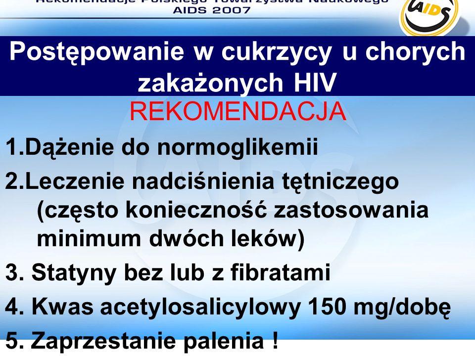 Postępowanie w cukrzycy u chorych zakażonych HIV REKOMENDACJA 1.Dążenie do normoglikemii 2.Leczenie nadciśnienia tętniczego (często konieczność zastos