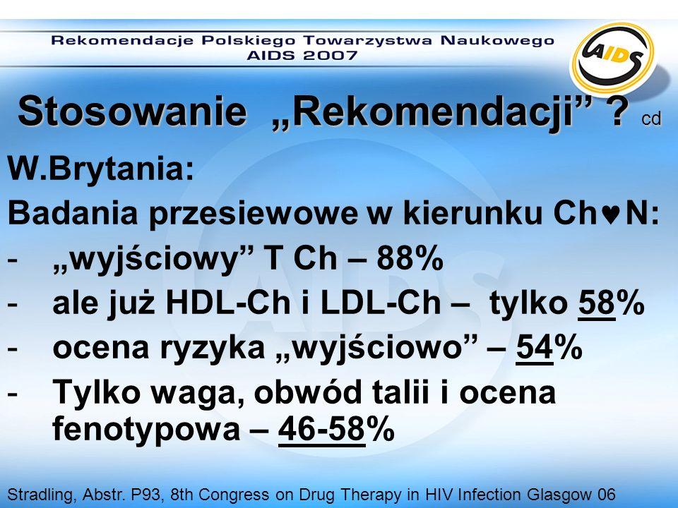 Stosowanie Rekomendacji ? cd W.Brytania: Badania przesiewowe w kierunku Ch N: -wyjściowy T Ch – 88% -ale już HDL-Ch i LDL-Ch – tylko 58% -ocena ryzyka
