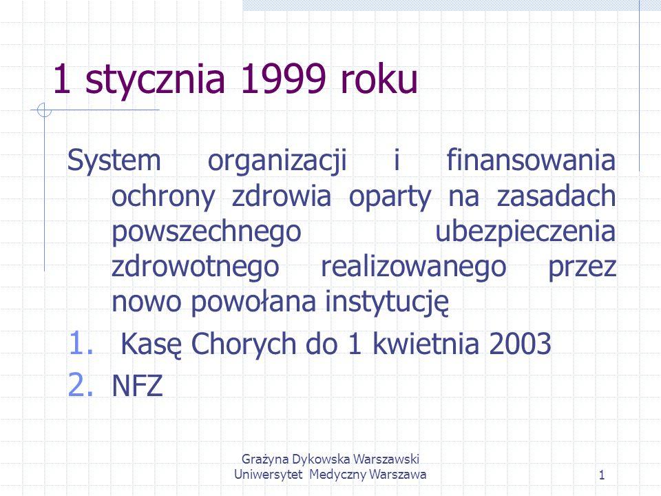 Grażyna Dykowska Warszawski Uniwersytet Medyczny Warszawa42 Zgodnie z art.72 do zakresu działania Kasy Chorych należy: ewidencja osób objętych ubezpieczeniem zdrowotnym, stwierdzanie i potwierdzanie prawa osoby ubezpieczonej do świadczeń, analizowanie wykonania obowiązku powszechnego ubezpieczenia zdrowotnego, zarządzanie funduszami Kasy, ustalanie planu finansowego, zawierania i finansowanie umów o udzielanie świadczeń na rzecz ubezpieczonych i kontrola realizacji tych umów oraz tworzenie oddziałów Kasy Chorych i kierowanie ich działalnością.